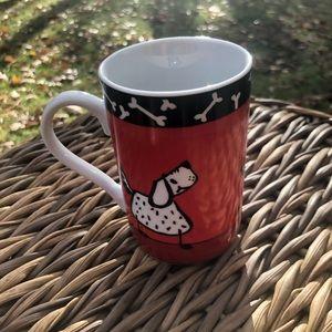 Pier one red black porcelain dog coffee mug 10 oz